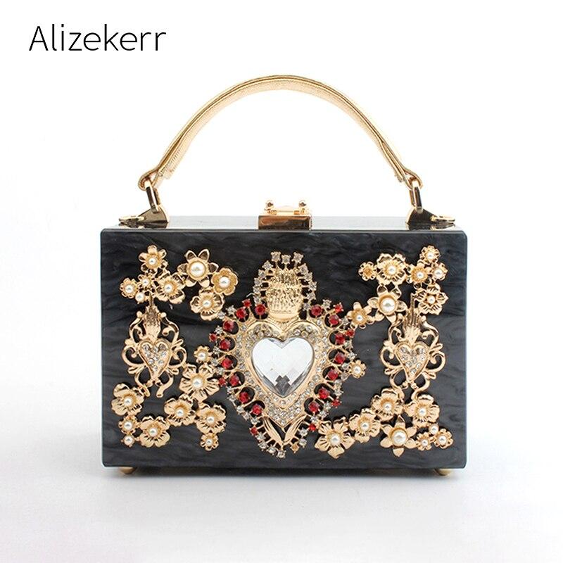 Luxury Acrylic Box Evening Bags Women Pearl Diamonds Stone Pattern Small Square Handbag Ladies Dinner Clutch Purse Crossbody Bag