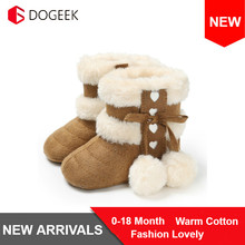 DOGEEK Newest Winter Baby Shoes Boots Infants Warm Shoes Faux Wool Girls Baby Booties Sheepskin Boy Baby Boots Newborn Fur Shoes cheap Cow Muscle Hook Loop Fits true to size take your normal size Mid-Calf Unisex Butterfly-knot Snow Boots Plush Flat with