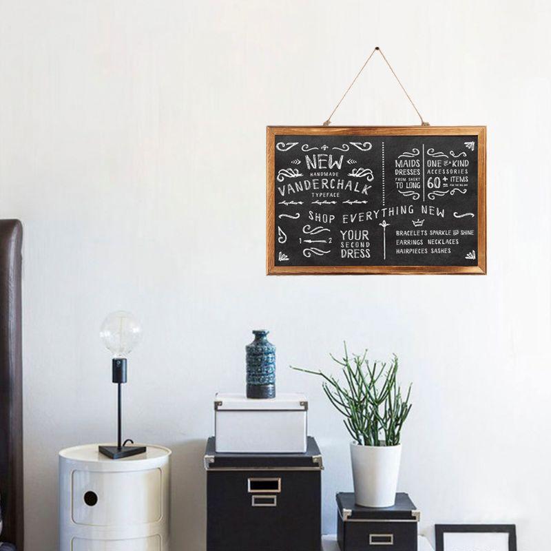 Rectangle Hanging Wooden Message Blackboard Chalkboard Wordpad Sign Kids Board For Restaurant, Bar, Office, home 2