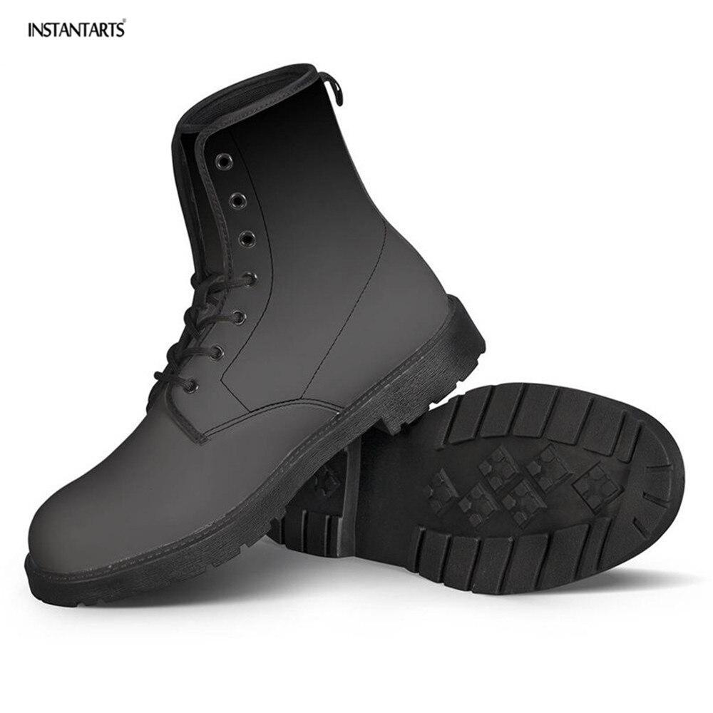 INSTANTARTS/матовая черная зимняя обувь с принтом; серые Теплые ботильоны с круглым носком; женские ботинки из искусственной кожи для девочек