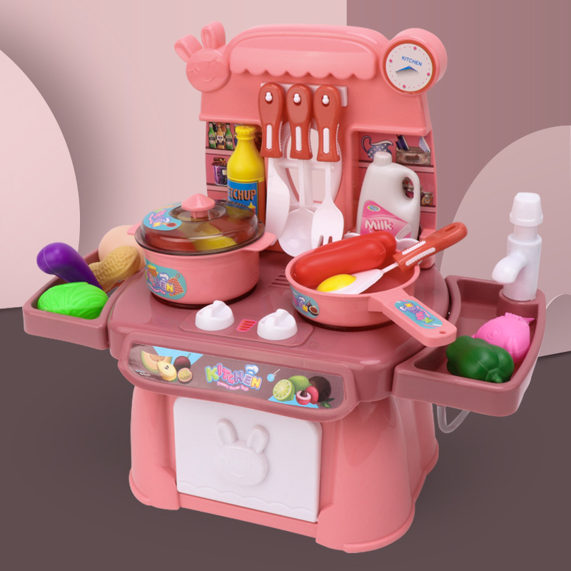 Kid Kitchen Toy Simulation Kitchen Toy Spray Water Dinnerware Pretend Play Kitchen Cooking Table Set Children's Gift