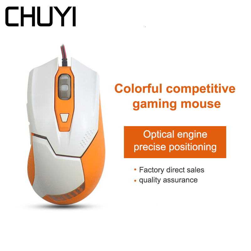 CHUYI Wired Gaming Mouse Colorful LED Light Computer Game Mice 800/1000/1600 DPI 6D USB Optical PC Muase Gamer For Overwatch image