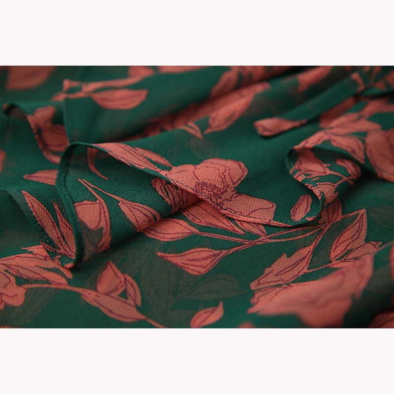 Nieuwste 2020 Stijlvolle Runway Suit Set Vrouwen Korte Mouwen Gorgeous Bloemenprint Blouse Overhemd Rok Set