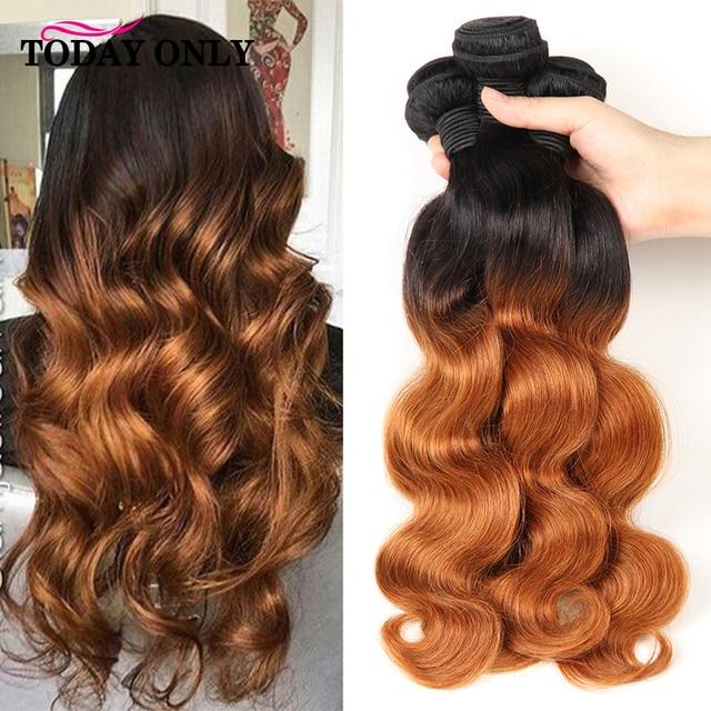 היום רק 1 3 4 חבילות גוף גל חבילות Ombre שיער חבילות ברזילאי שיער Weave חבילות רמי שיער טבעי הרחבות