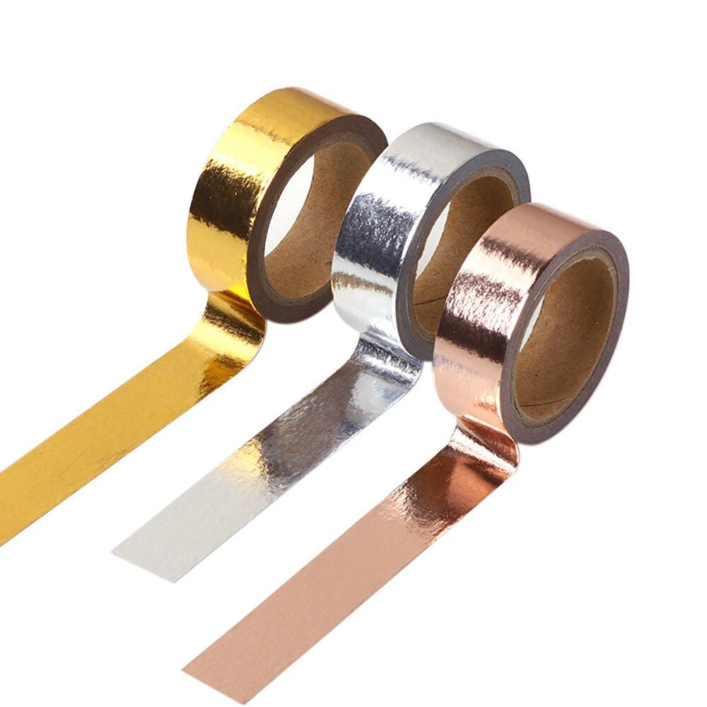 1Pcs 15mm*5m Gold Foil Washi Tape Silver/Gold/Rose Gold Color Japanese Kawaii Tape DIY Scrapbooking Tools Masking Tape Papeleria
