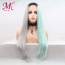 "Moko Straight Synthetic Lace Front Wig 26""28 inch Long Straight Hair Light Color Ombre 1B Grey Blue Wig For Women Cosplay Wigs(China)"