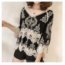 Womens Chiffon Blouse Elegant Ladies Easy  Medium Long Sleeves Big V- Neck Lace Flowe 7.31