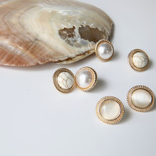цена на 2020 New Vintage Round Marble Opal Stone white Simulated Pearl  Stud Earrings For Women  Classic