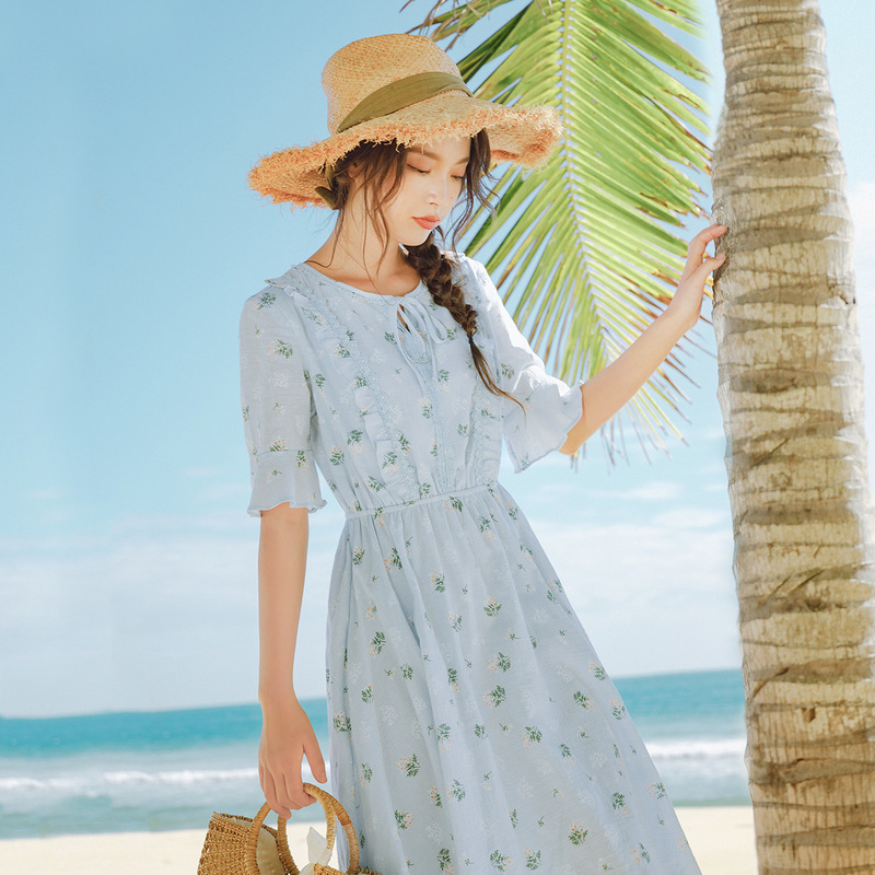 INMAN 2020 Summer New Arrival Pure Cotton Shivering Nipped Waist Pure And Fresh Dress