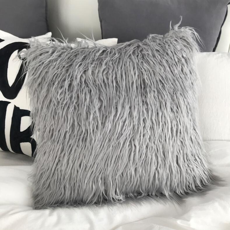 ins fluffy pillow wool cushions fur cushion cover sofa long plush bed pillows christmas decorations christmas room throw pillow
