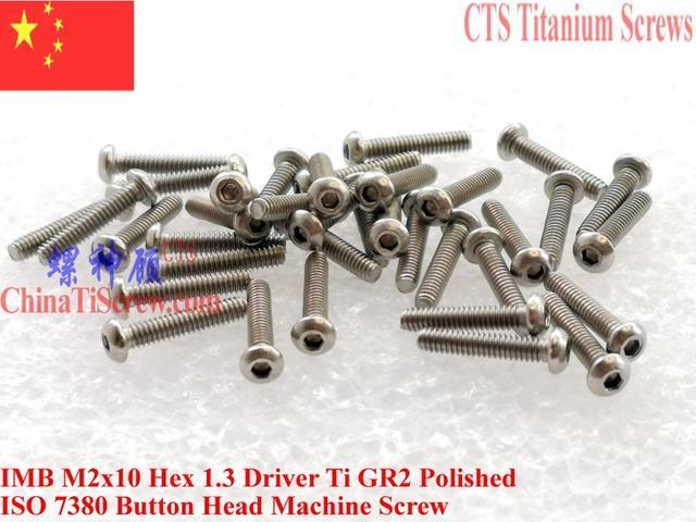 ISO 7380 Titanium screw M2x10 M2x12 M2x16 M2x18 M2x20 Button Head Hex 1.3 Driver Ti GR2 Polished 25 pcs