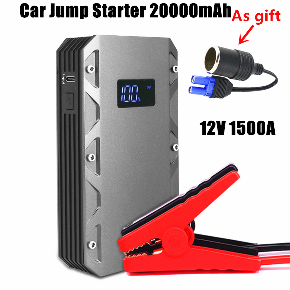 Emergency 1500A Starting Device 12V 20000mAh Car Jump Starter Power Bank Petrol Diesel Car Charger For Car Battery Booster LED