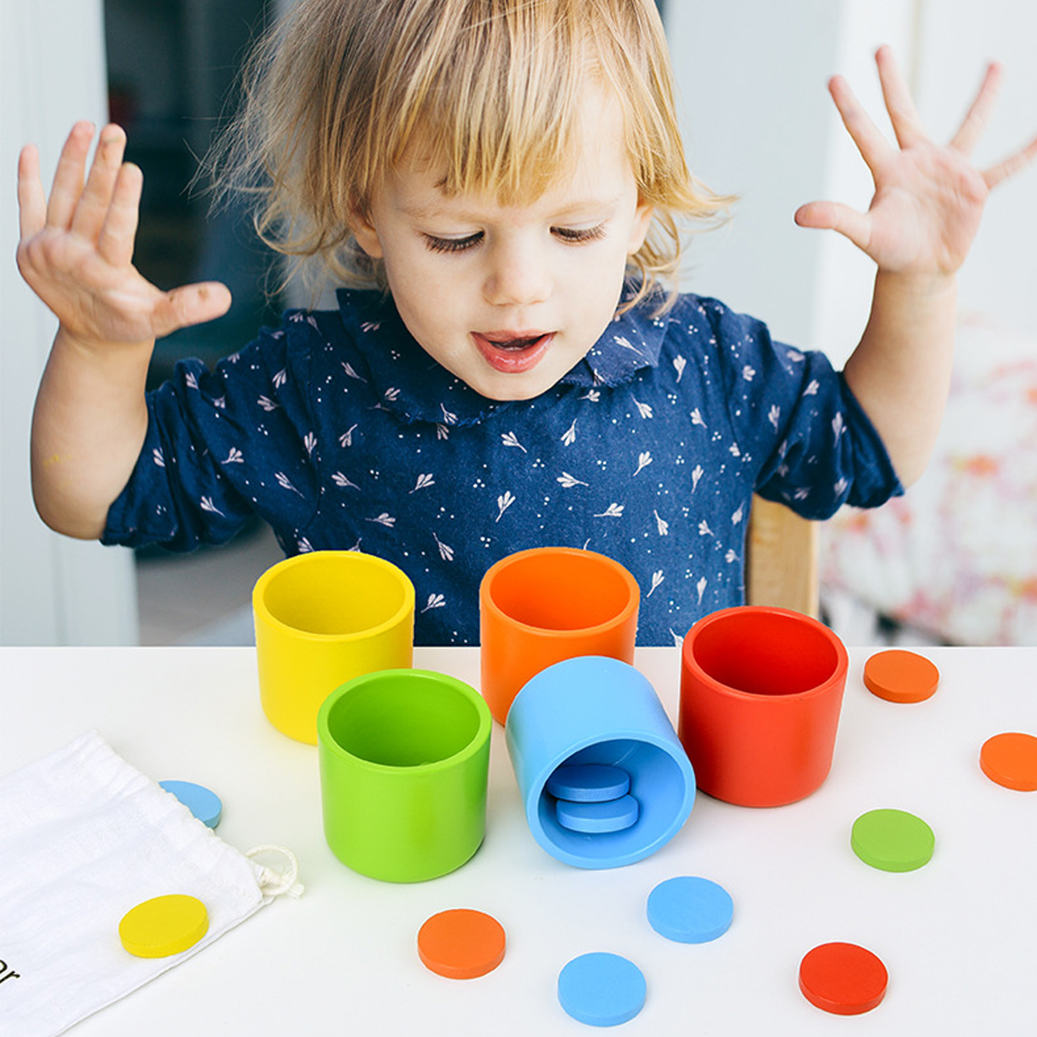 Kids Baby Montessori Wooden Counting Circular Plate Color Sorting Matching Cups Game Rainbow Matching Game Educational Toys