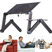 Adjustable Laptop Folding Desk Table Tray Bed Mouse Holder with Fans for Home AS99