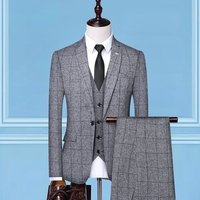 2020 fashion plaid tuxedo wedding suits (jacket+vest+pant) plus size luxury men wedding suit