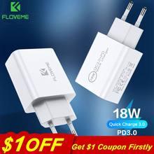 Carregador de parede rápido de 18 w pd 3.0 floveme, carregador rápido de telefone celular usb para samsung s9 xiaomi 18 w 2 tomada de parede para iphone x 8 huawei