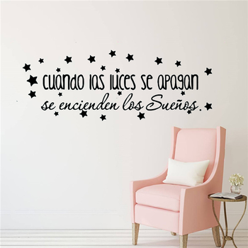 Large Wall Stickers Spanish Quotes Sentences Vinyl Wall Art Decals for Kids Room Decoration Spanish Vinyl Sticker Wallpaper large spanish quotes phrase wall decals wallpaper vinyl stickers for office room decal wall sticker home decoration poster mural