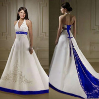 Vintage White and Royal Blue Stain Wedding Dresses 2020 Halter Neck Court Lace Embroidery Beaded Lace up Corset Bride Gown