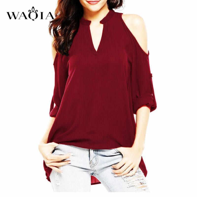 Большие размеры 8XL блузки женские 2019 топ с открытыми плечами летние женские топы и блузки с длинным рукавом женские шифоновые блузки рубашки с v-образным вырезом