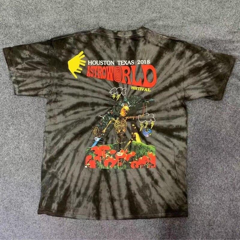 Travis Scott Astroworld Festival T Shirt Men Women Tie Dye Billie Eilish High Quality ASTROWORLD TRAVIS SCOTT T-shirts