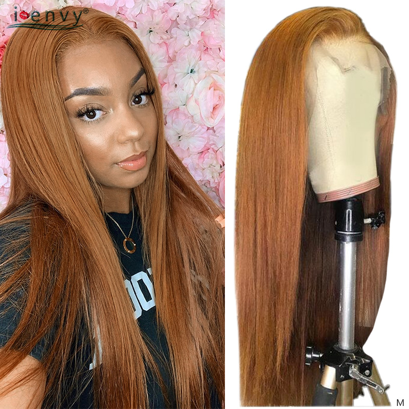 Ginger Blonde Lace Front Human Hair Wigs 13X4 Straight Human Hair Wigs 180% Remy Pre Pluck Red Brazilian Highlight Lace Wigs 180