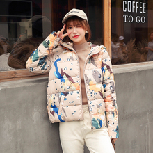 2019 Winter short parkas coat Casual Thick warm hooded printed jacket sintepon winter
