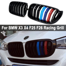 цена на A Pair For BMW F25 F26 X3 X4 2014-2018 Bumper Gloss Matt Black M Color 2 Line Slat Kidney Grill Grille Front Bumper Racing Grill