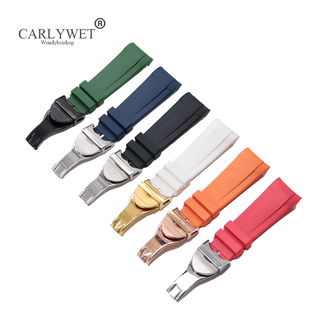 CARLYWET 22mm Black Blue Orange Red Green White Waterproof Silicone Rubber Watch Band Straps Bracelets For Tudor Black Bay