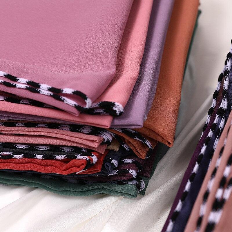 Plain Bubble Chiffon Scarf Hijab Black Edges Wrap Shawl Women Fashion Headscarf New Style Muslim Scarves 24 Colors