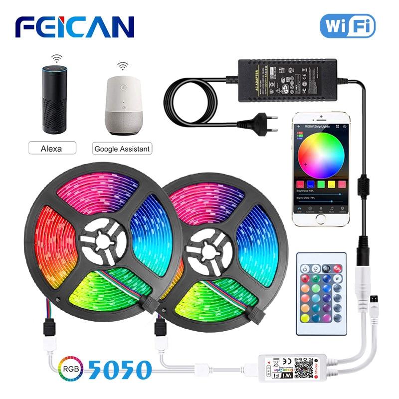 LED Strip Light 5050 RGB WiFi Smart LED Strip Waterproof Bluetooth 5M 10M 15M RGB Strip 12V RGB Tape Set