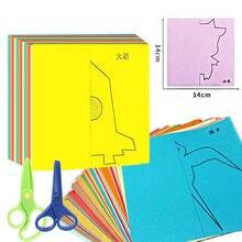 40 pçs artesanato crianças dos desenhos animados cor papel dobrável corte kinderen arte diy brinquedos educativos para crianças montessori brinquedos para crianças