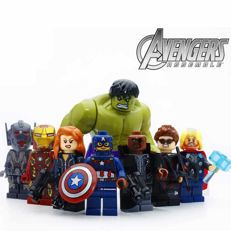 8/lotto Avengers Hulk Thor Captain Iron-man Black Widow Compatibie Legoings Blocchi di Costruzione Del Giocattolo Kit FAI DA TE legoinsy regali educativi