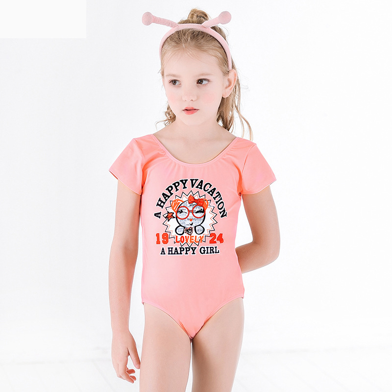 2019 Europe And America New Style Hot Sales KID'S Swimwear One-piece Backless Triangular Lettered Cartoon Hipster GIRL'S Swimsui