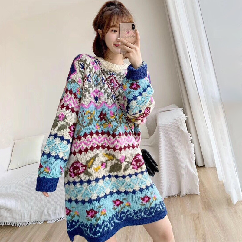Ethnic Vintage Sweater Women Autumn Winter Thick Warm Plus Size Jacquard Knitted Long Pullover Sweaters Ladies Jumpers Pull Hive