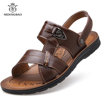 Summer Genuine Leather Beach Sandals Men Shoes Large Size 45 46 47 48 49 50 Casual Sandals for Men Soft Comfort Outdoor Man Shoe new men shoes genuine leather men sandals summer men causal shoes beach sandals man fashion outdoor casual sneakers size 38 48