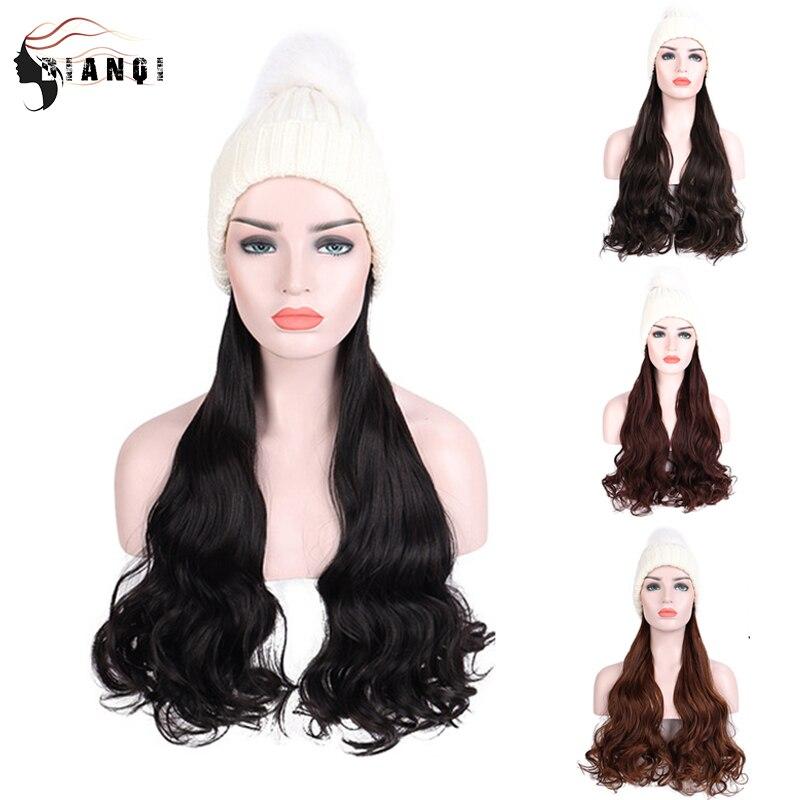 Dianqi sintético feminino branco malha beanies chapéu perucas com longo ondulado extensões de cabelo para meninas fácil de usar