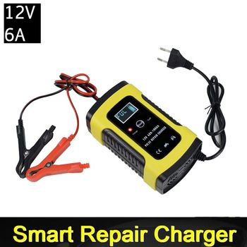 12V 6A Intelligent Car Motorcycle Battery Charger For Auto Moto Lead Acid AGM Gel VRLA Smart Charging 6A 12V Digital LCD Display