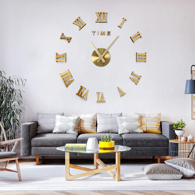 DICOR Frameless DIY Wall Clock, 3D Mirror Wall Clock Large Mute Wall Stickers for Living Room Bedroom Home Decorations Brand New 2