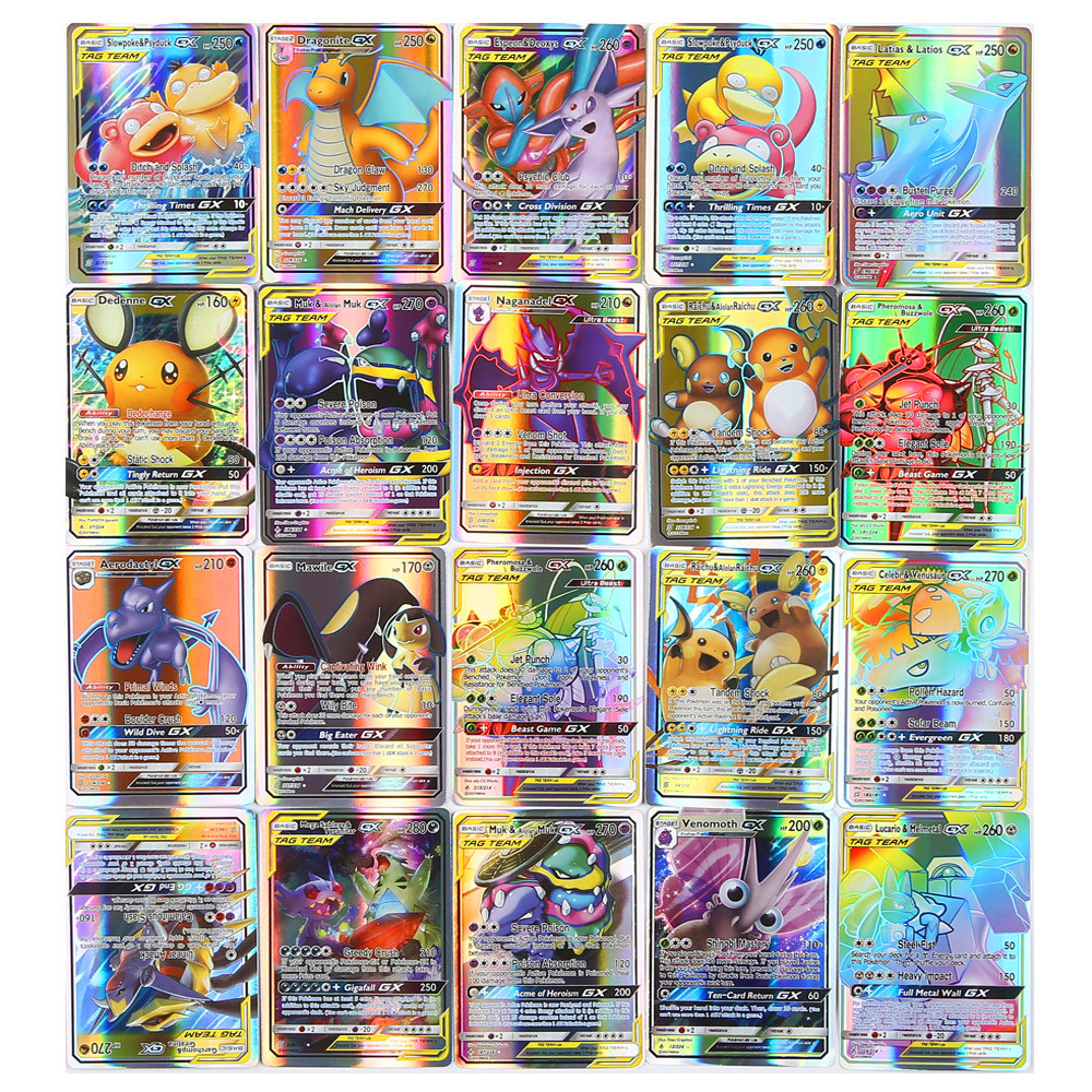 High Quality 10/25/50/100/120/200pcs Pokemon Game Collection Trading Cards For Funs Children English Kids Gifted Toy