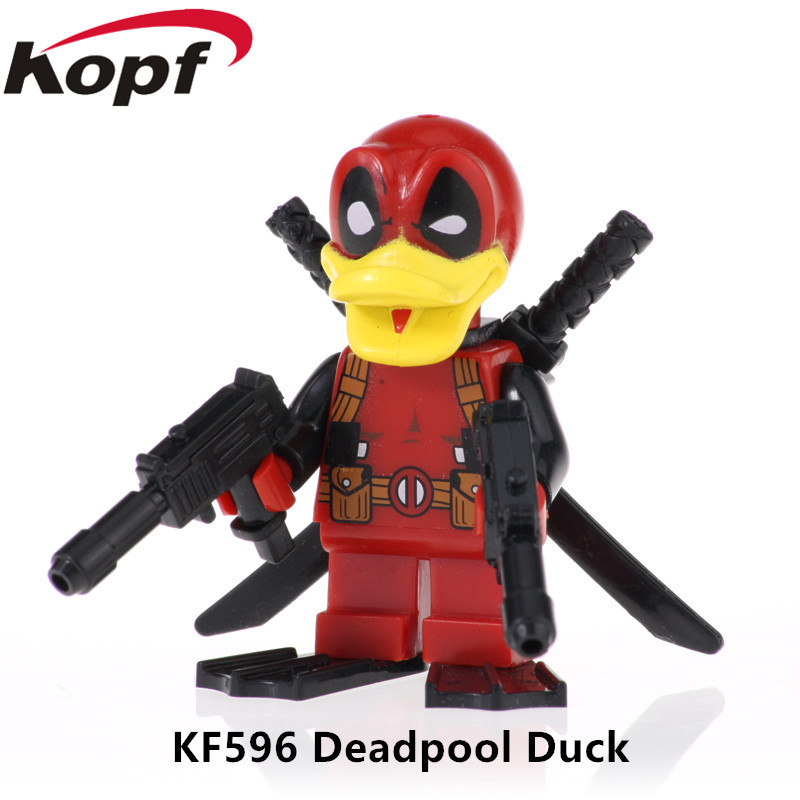 KF596 Single Sale Collection Bricks Deadpool Duck Figures Assemble Building Blocks For Children Christmas Gift Best Toys image