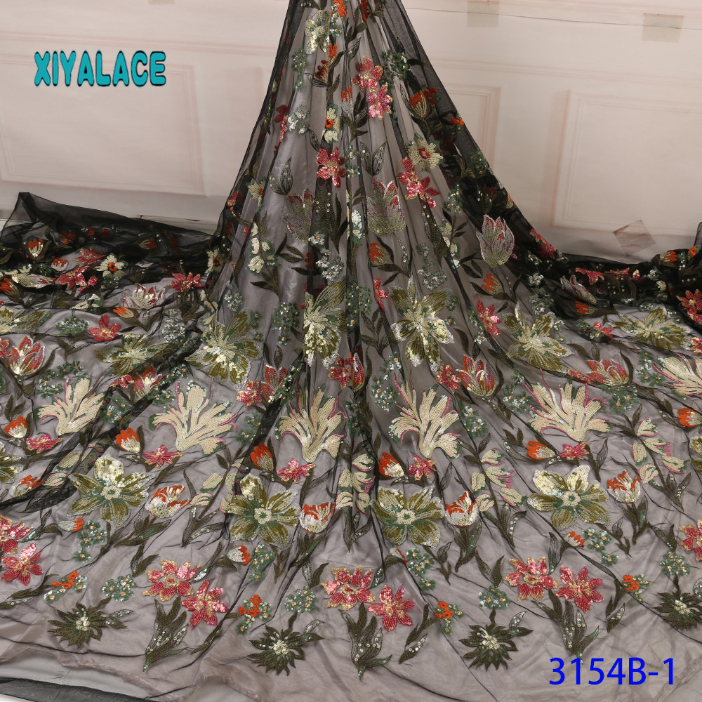 BEAUTIFICAL 3d Lace Flowers Latest Nigerian Lace Styles French Party Lace Fabrics 5 Yards 2019 Tulle Fabric 3d  YA3154B-1