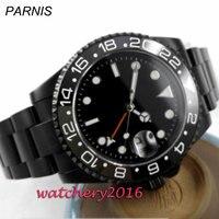 40mm parnis schwarz sterile zifferblatt PVD GMT datum saphirglas automatische herren uhr-in Mechanische Uhren aus Uhren bei