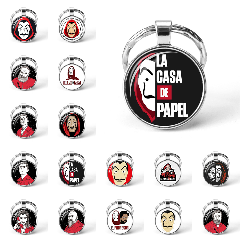 La Casa De Papel Keyring The House Of Paper Necklace Money Heist Keychain Salvador Dali Professor Funny Key Chain Jewelry Gift