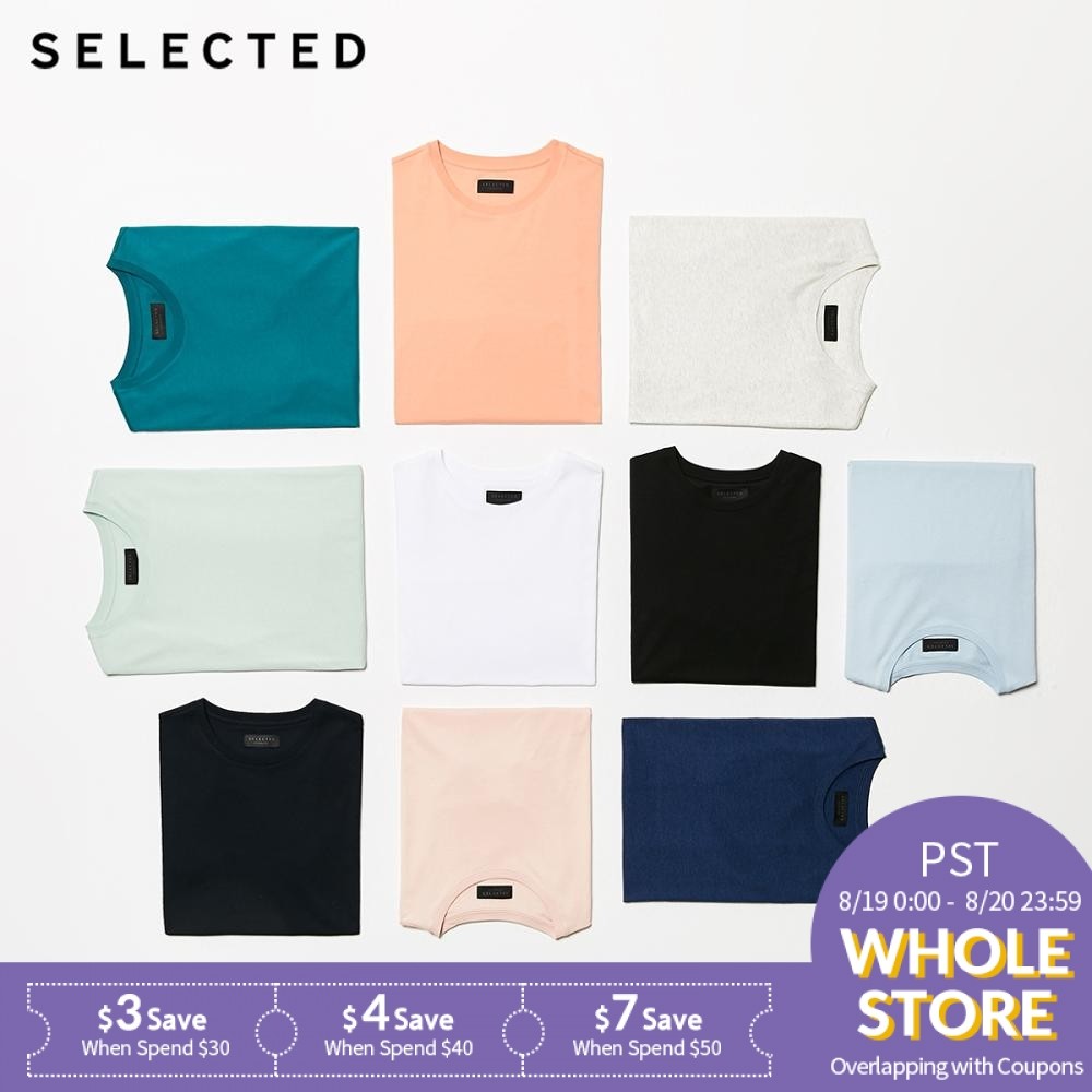 SELECTED Short-Sleeved T-Shirt Round-Neckline Men's Pure-Color Summer 100%Cotton