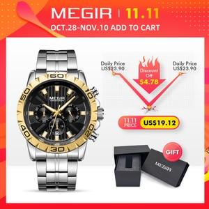 Image 2 - 2020 Nieuwe Megir Horloge Mannen Chronograph Quartz Bedrijvengids Heren Horloges Top Brand Luxe Waterdichte Polshorloge Reloj Hombre Saat