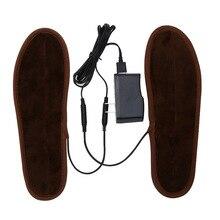 Línea de datos + plantillas para hombres y mujeres, nuevo USB eléctrico, plantillas calefactoras de piel de felpa, plantilla calentada para invierno, plantilla calentada Unisex