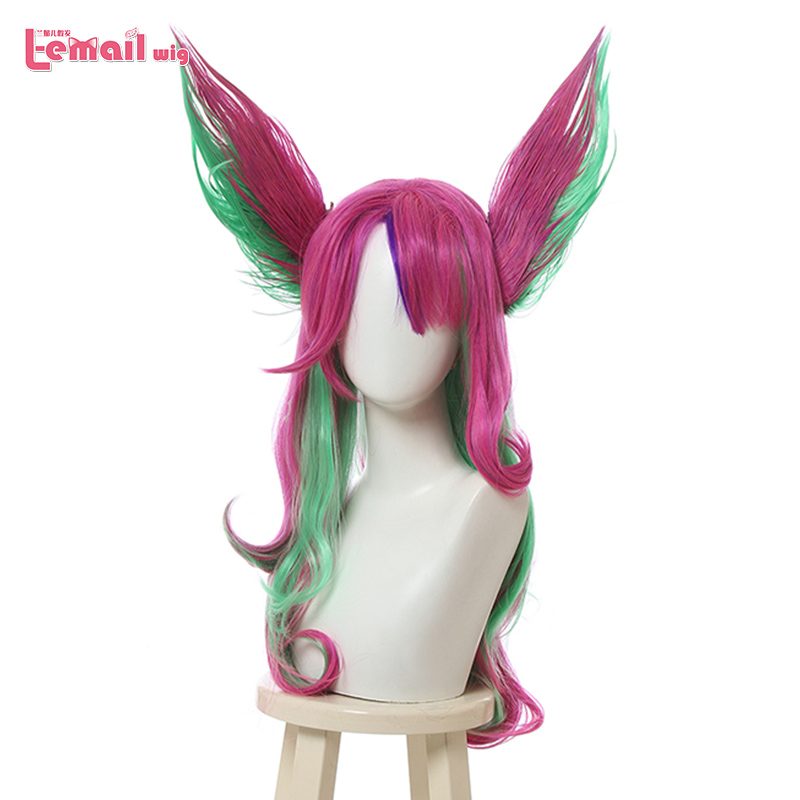 L-email wig LoL Xayah Cosplay Wigs Star Guardians Long Pink Green Cosplay Wig with Ears Halloween Heat Resistant Synthetic Hair