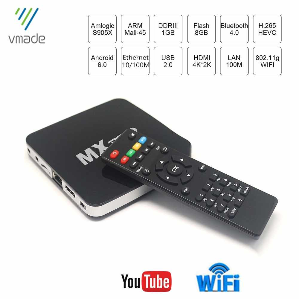 Vmade Android 6.0 tv, pudełko Mxpro Amlogic S905X czterordzeniowy Coretex-A53 ARM do 2.0GHz 1GB 8GB H.265 4K 2K zestaw odtwarzacza multimedialnego Top Box