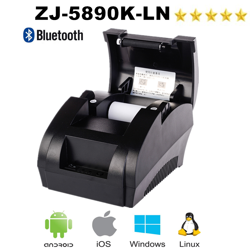 Pos Thermal Printer 58mm Receipt Ticket Printer With Bluetooth USB Port For Mobile Phone Windows Supoort Cash Drawer