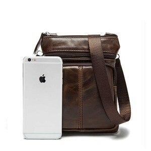 Image 5 - Genuine Leather shoulder bags men Crossbody Bag Designer Natural cowhide Shoulder Bags Vintage Small Flap Pocket Handbag